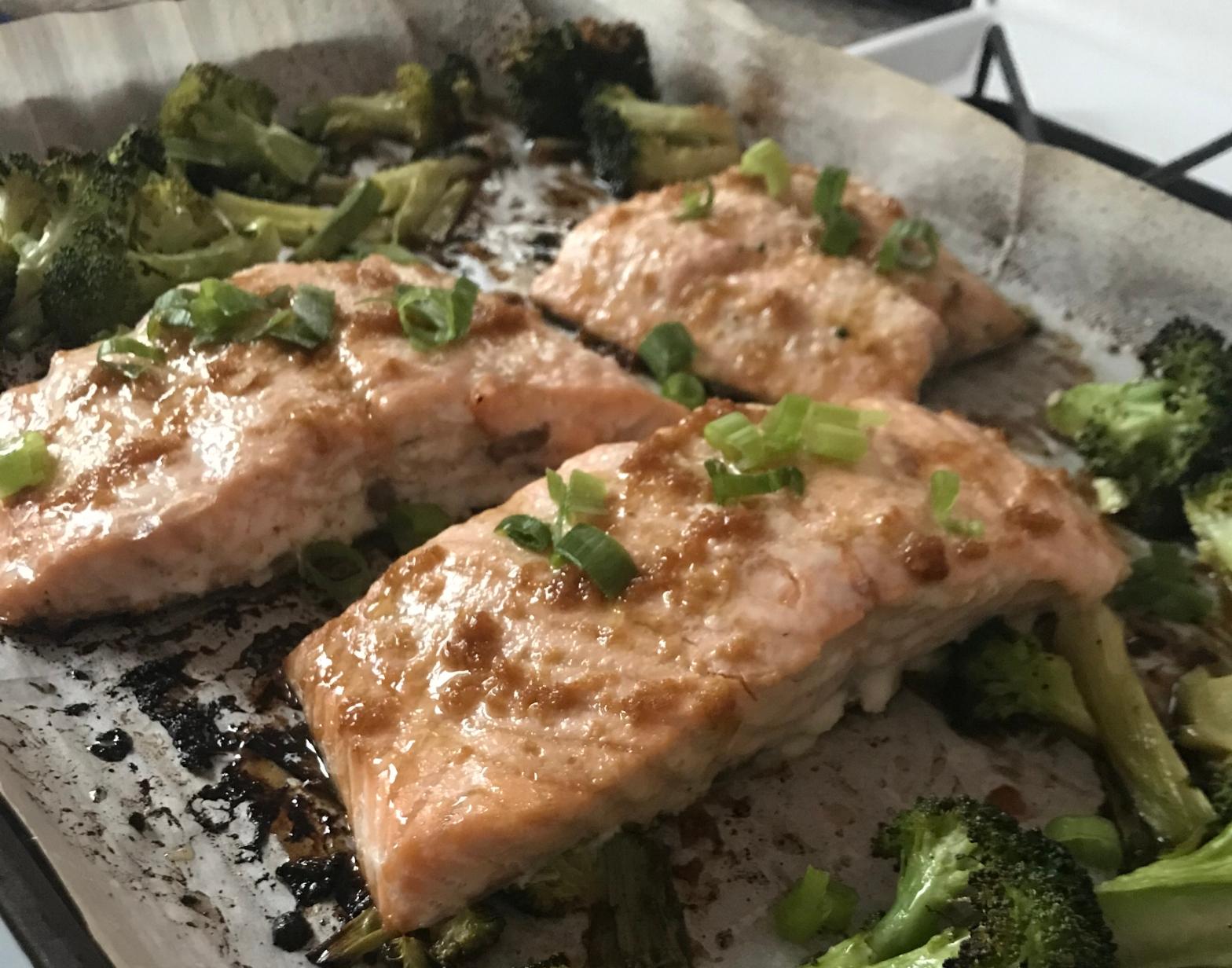Sheet-pan sesame and ginger salmon